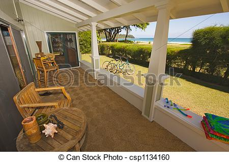Stock Photography of Oceanfront Lanai and View csp1134160.