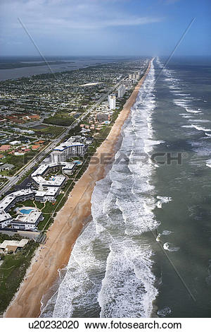 Stock Photography of Aerial view of Ormond Beach, Florida with.