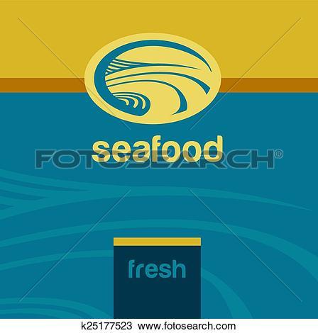 Clipart of Vector background and logo label. Oceanside, landscape.