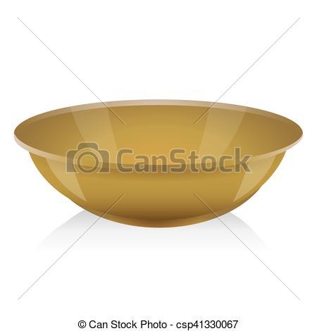 Clip Art Vector of Ocher bowl vector isolated csp41330067.