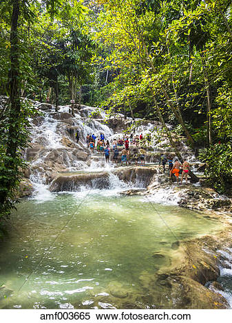 Stock Image of Jamaica, Ocho Rios, Tourists bathing in Dunn's.