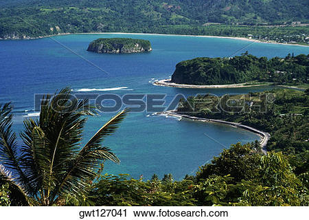 Stock Photography of View of the Bay at Ocho Rios seen from.