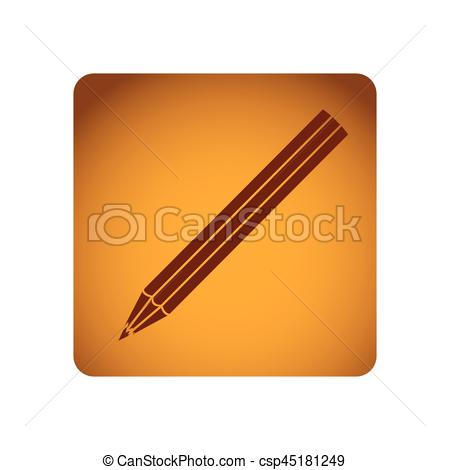 EPS Vector of ochre square frame with striped pencil vector.