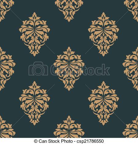 Clipart Vector of Retro ochre seamless pattern.