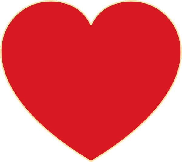 Red Heart With Ochre Outline Clip Art at Clker.com.