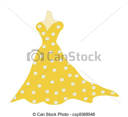Stock Illustration of Yellow Ochre Gown.