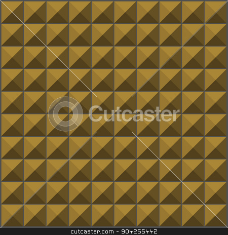 wall with ochre yellow pyramid tiles pattern stock vector.