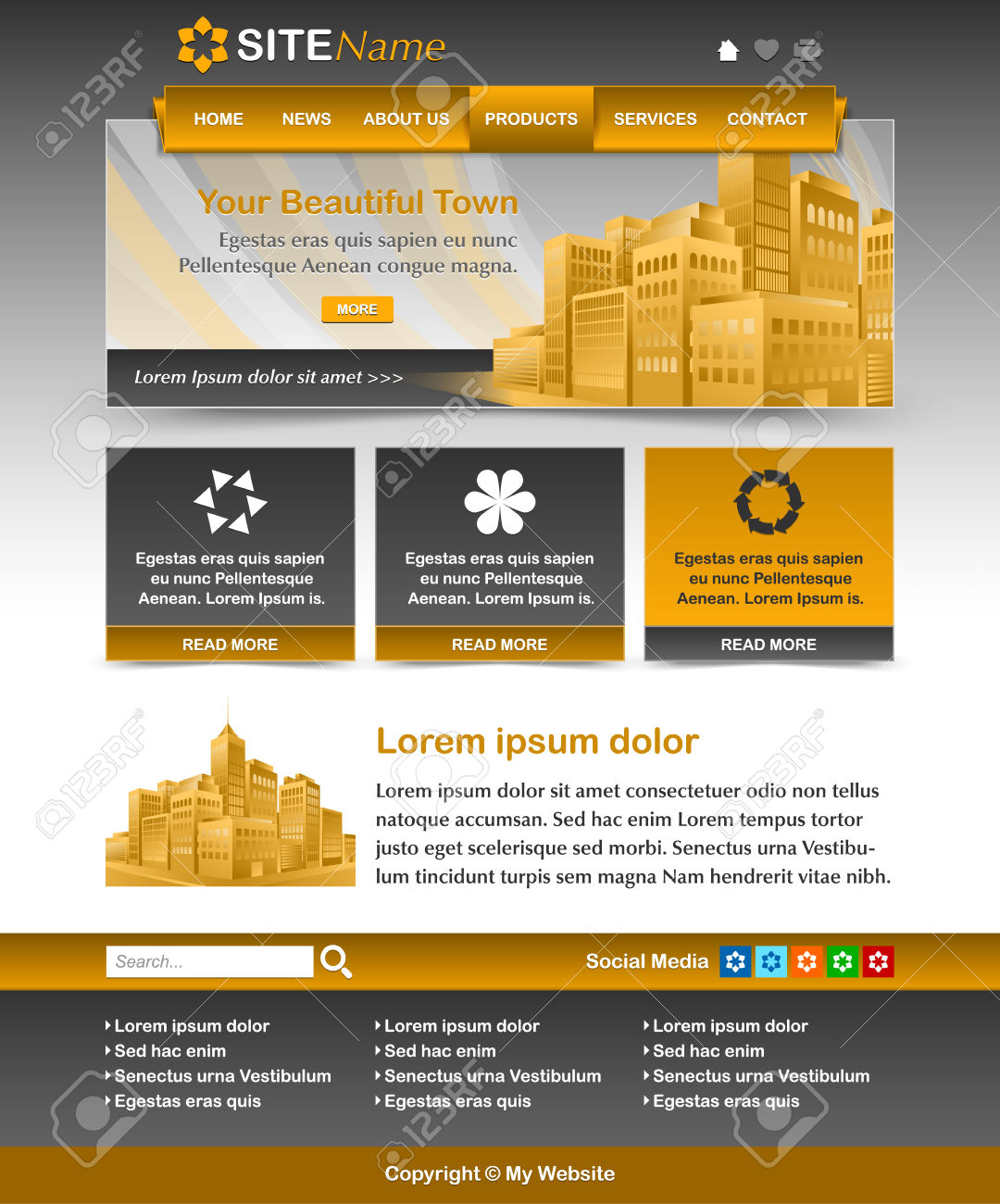 Easy Customizable Yellow Ochre And Dark Grey Website Template.