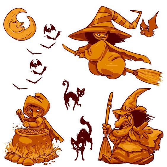 Imagen de brujas cartoon de Halloween muy feas, de colores ocre.