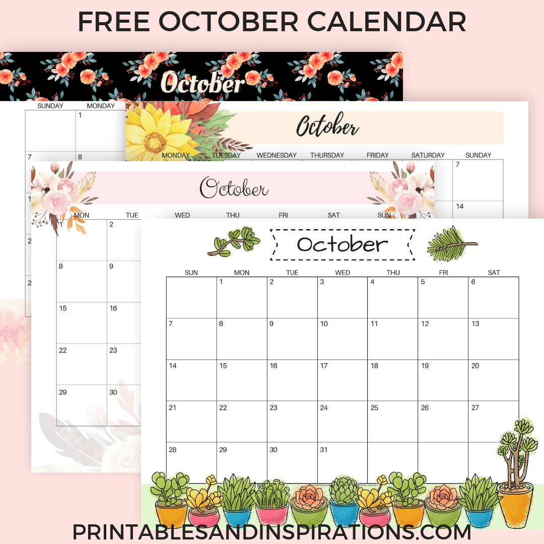 October Calendar 2018 FREE Printable!.