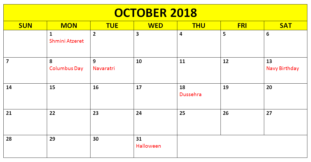 Printable October 2018 Holidays With Notes.