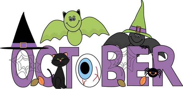 Free October Clipart Images Black and White Border Banner.