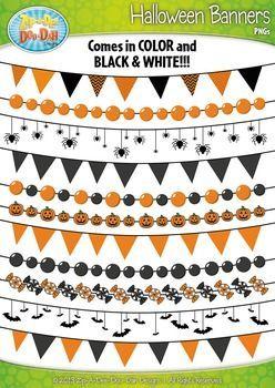 Halloween Pendant Banners Clipart {Zip.