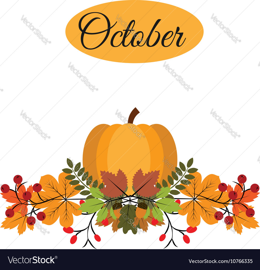 October banner with pumpkin autumn leaves and.
