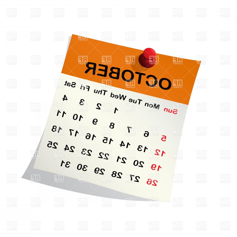 October Month Calendar Vector Clipart.