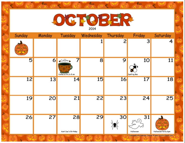 October calendar clipart clipart kid » Clipart Station.