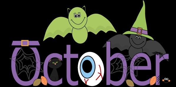 Fun month of October Halloween scene clip art calendar.