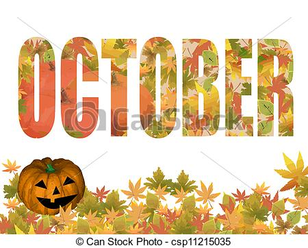 Vectors of October title with autumn leaves and pumpkin in the.