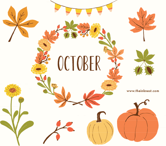 October Leaves Clipart.