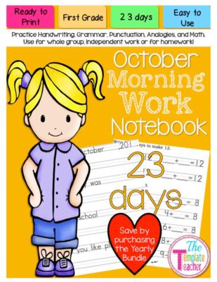 First Grade October Morning Work.