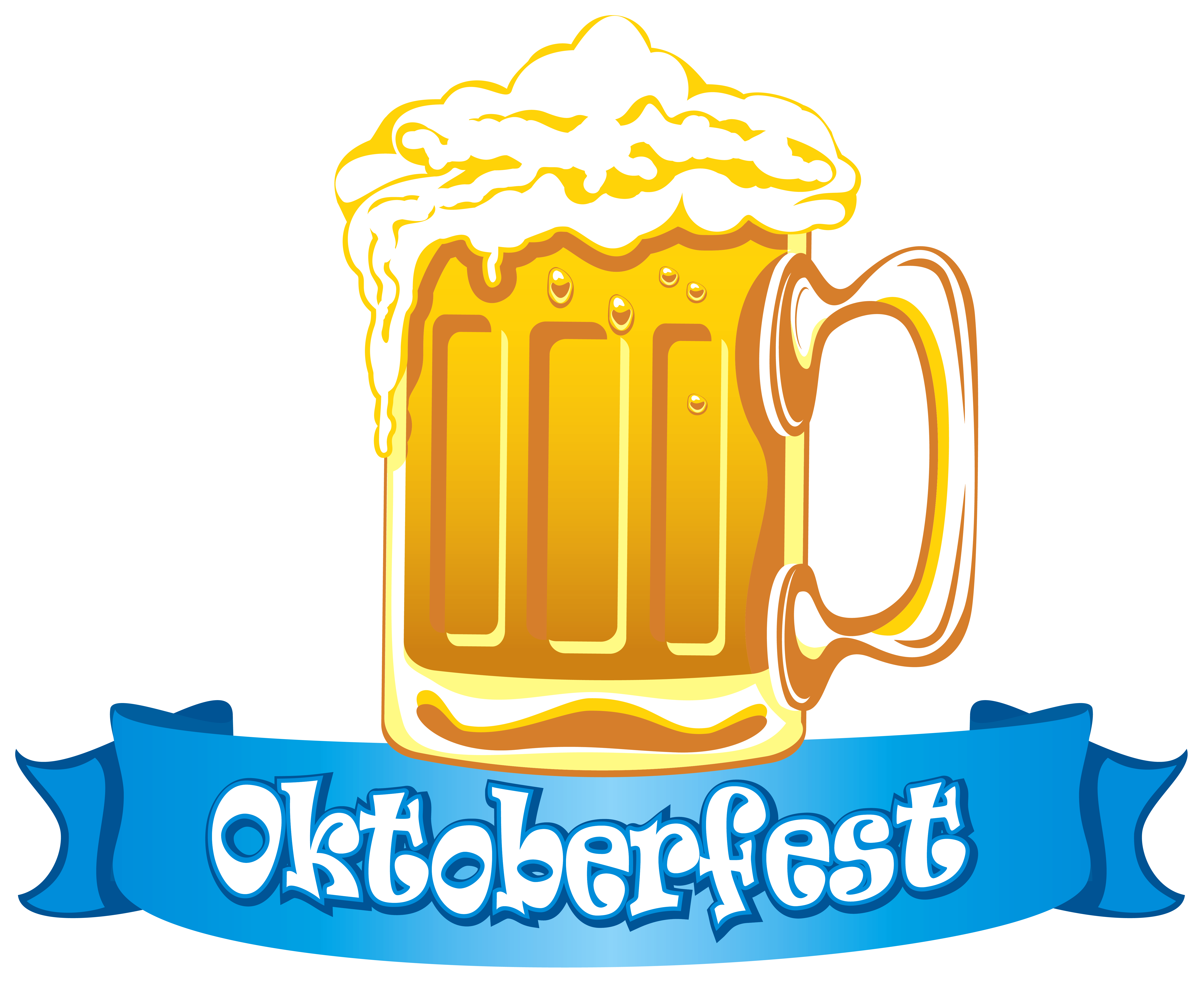 Oktoberfest Banner with Beer PNG Clipart Image.