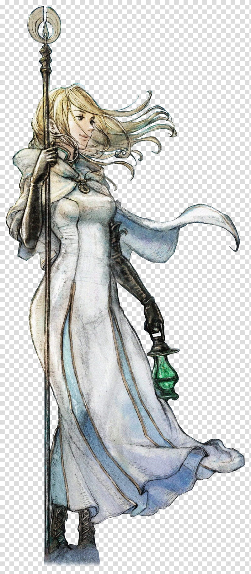 Octopath Traveler Ophilia Render, white dress girl holding.