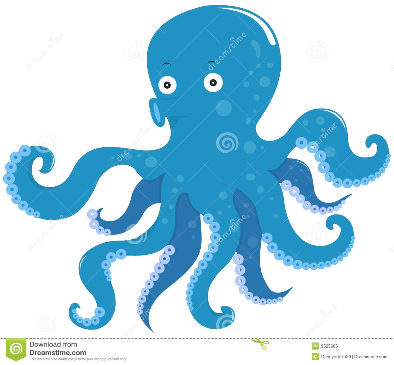 Blue octopus clipart.