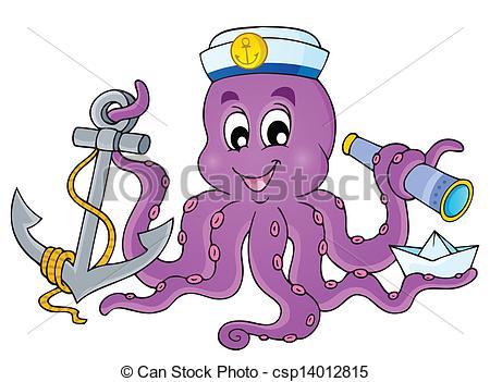 Vector Clip Art of Octopus theme collection 1.