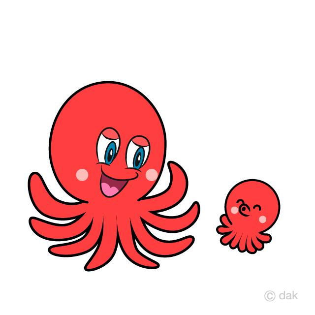 Free Octopus Parent and Child Clipart Image|Illustoon.