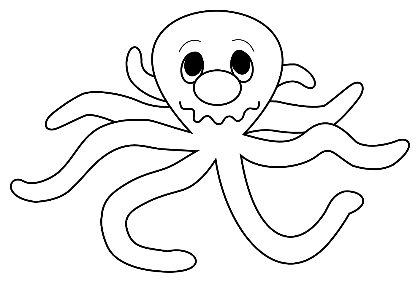 Octopus black and white octopus clipart outline clipartfox 2.