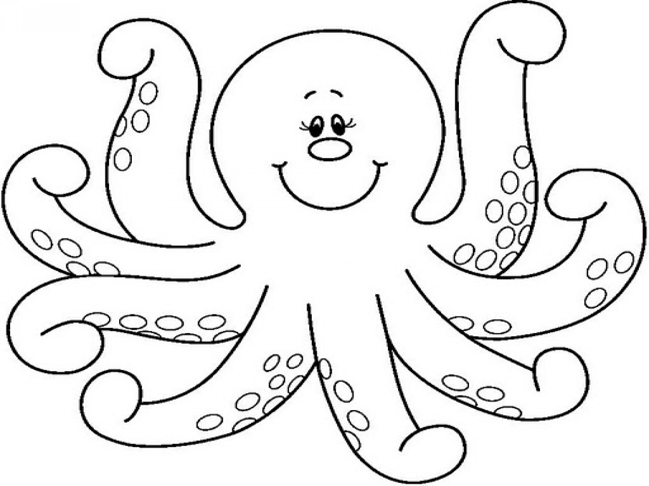 Octopus Coloring Template, Octopus Clip Art Black And White.