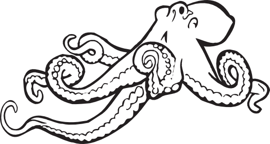 Octopus black and white octopus clipart outline clipartfox 3.