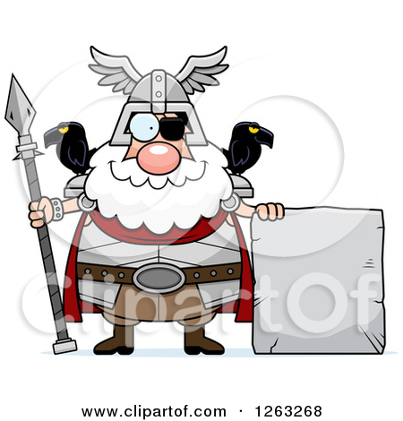 Clipart of a Cartoon Happy Chubby Odin with a Stone Sign.