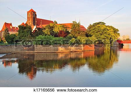 Stock Illustration of Wroclaw. Oder river with beautiful islands.