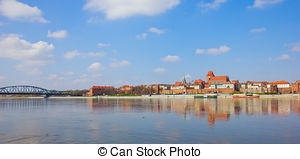 Stock Photo of Old town of Opole across Oder River. Opole.
