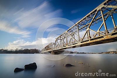 Old Railway Drawbridge On The Oder River In Szczecin Stock Photo.