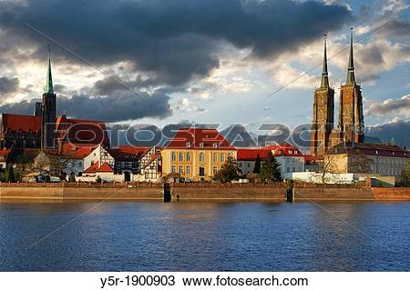 Stock Photo of View over the Oder river to dome island, the Dome.