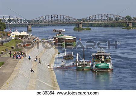 Stock Photo of Embankment Along Vistula River, Torun, Poland.