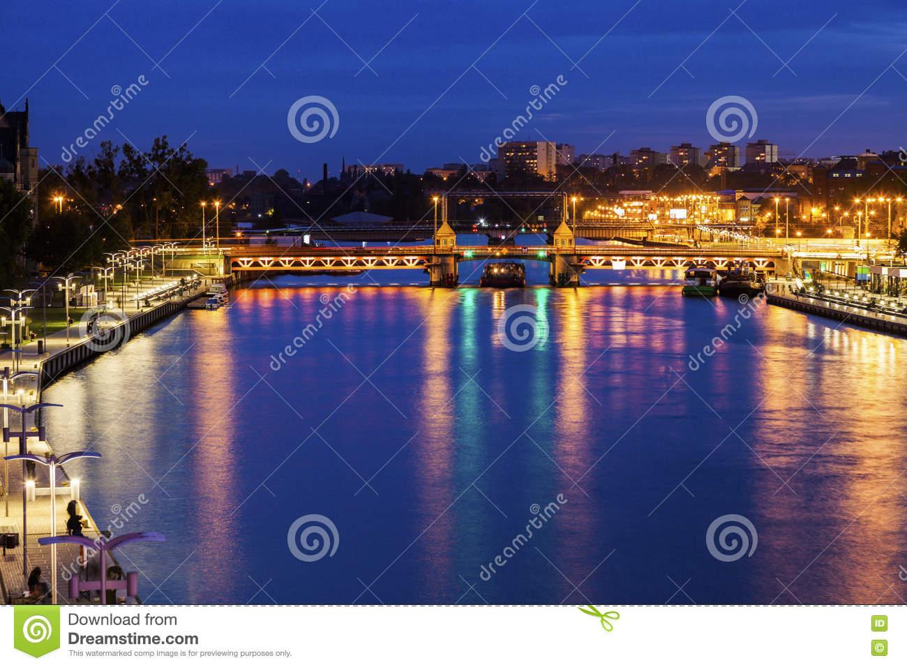 Bridge On Oder River In Szczecin Stock Photo.