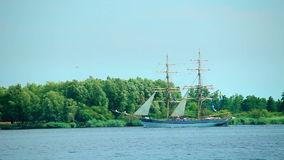 Sailing Ship, Oder River, Poland Stock Video.