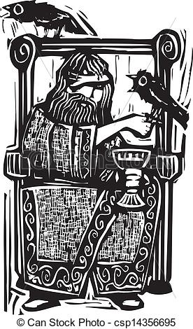 EPS Vectors of Odin on Throne.