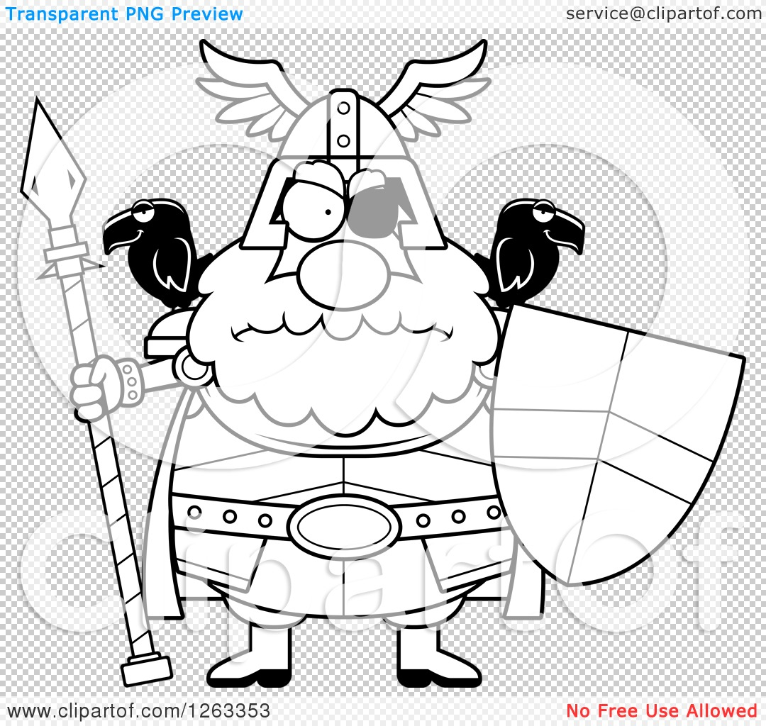 Clipart of a Black and White Cartoon Chubby Mad Odin with a Spear.