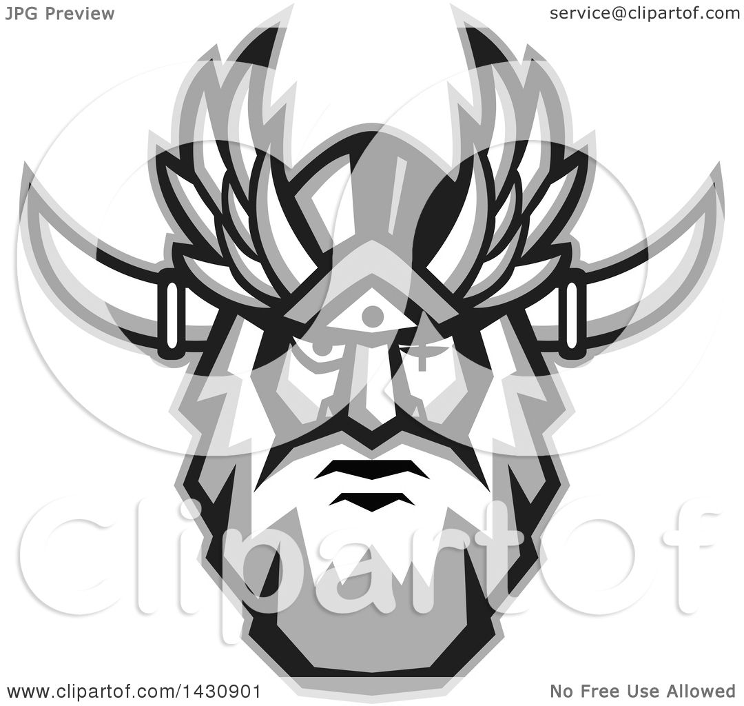 Clipart of a Retro Face of Odin with a Beard and Helmet and Bind.