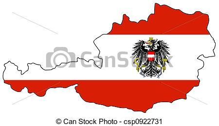 Clipart von Landkarte, österreich.