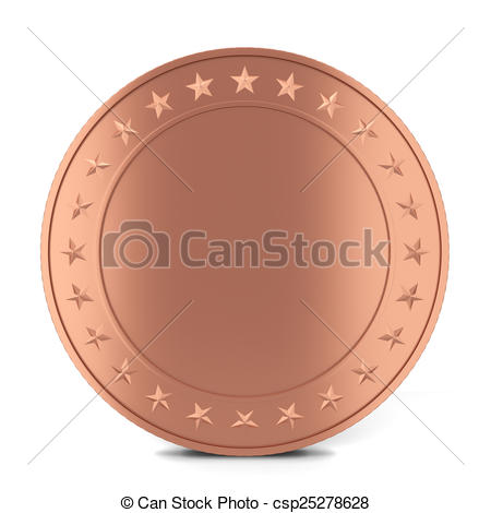 Clip Art of Copper coin. 3d illustration isolated on white.