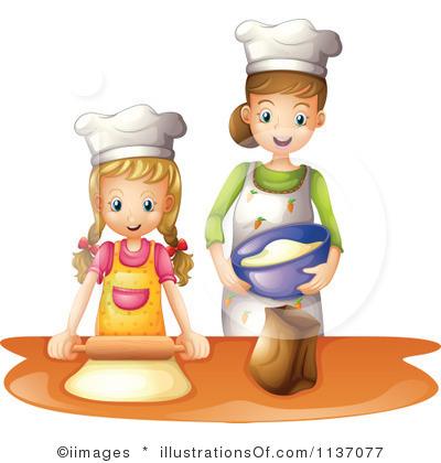 Illustration kids cooking.
