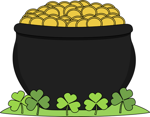 Pot of Gold and Shamrocks Clip Art.