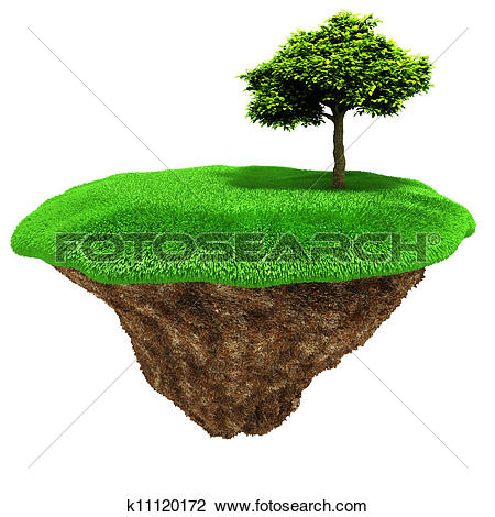Clip Art of 3d little piece of land with fresh green grass on.