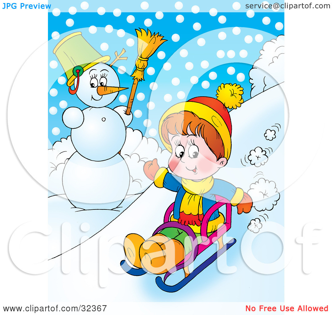 Clipart Illustration of a Boy Riding Downhill Past A Snowman On A.