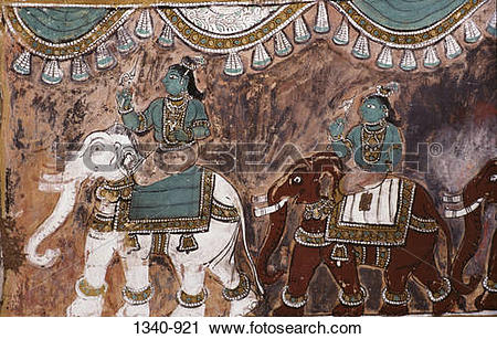 Stock Photography of Mural from Ramayana on the wall of a temple.